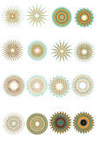 Ornate Circular Patterns. A collection of 16 ornate circular patterns. Each group is very detailed and made from a number of fine lines. Change stroke colors to Royalty Free Stock Images