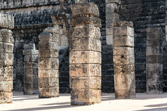 Ornate Columns in Chichen Itza Royalty Free Stock Image
