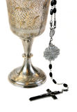 Ornate Communion Chalice and Rosary Stock Photo
