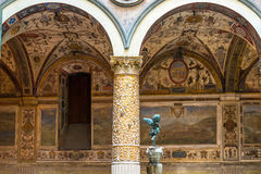 Ornate courtyard in the Palazzo Vecchio in Florence Royalty Free Stock Images