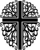 Ornate cross silhouette 2. An original custom ornate cross silhouette stock illustration