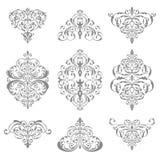 Ornate damask ornament set. Isolated on white vector illustration