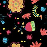 Ornate decor in ditsy style. Enchanted forest in fanciful fairy in folk style. Folk floral seamless pattern in minimal style with gouache flower elements on stock illustration