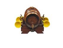 Ornate decor wine barrel isolated over white Royalty Free Stock Image