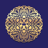 Ornate, decorative, lace, gold frame, mandala on blue dark backg Stock Photo