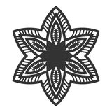 Ornate decorative snowflake on a white background. Flat black silhouette, lace Stock Images