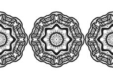 Ornate decorative snowflake on a white background. Flat linear silhouette, lace Royalty Free Stock Photography