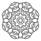 Ornate decorative snowflake on a white background. Flat linear silhouette, lace Royalty Free Stock Image