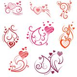 Ornate design elements with hearts Royalty Free Stock Image