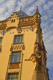 """Ornate detail on Brightly painted building in the jewish quarter Prague. In a neo gothic style. Prague's Jewish Quarter """"Židovské město royalty free stock photos"""