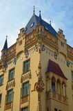 """Ornate detail on Brightly painted building in the jewish quarter Prague. In a neo gothic style. Prague's Jewish Quarter """"Židovské město royalty free stock photo"""
