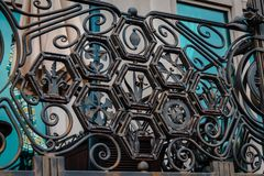 Detailed railing on balcony by the waterfront in Philadelphia. Ornate detailed railing on balcony by the waterfront in Philadelphia stock photos