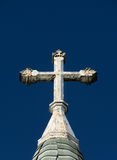 Ornate Deteriorated White Church Cross Royalty Free Stock Images