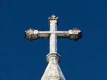 Ornate Deteriorated White Church Cross Stock Photography
