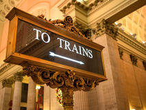 Trains sign indoor ornate Stock Photo