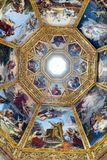 Ornate dome inside of Medici Chapel. Florence, Italy, June 12, 2015: Interior view of an ornate dome inside of Medici Chapel, Florence, Italy stock photography