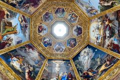 Ornate dome inside of Medici Chapel. Florence, Italy, June 12, 2015: Interior view of an ornate dome inside of Medici Chapel, Florence, Italy stock images