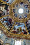 Ornate dome inside of Medici Chapel. Florence, Italy, June 12, 2015: Interior view of an ornate dome inside of Medici Chapel, Florence, Italy royalty free stock photo