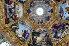 Ornate dome inside of Medici Chapel. Florence, Italy, June 12, 2015: Interior view of an ornate dome inside of Medici Chapel, Florence, Italy stock image