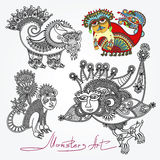 Ornate doodle fantasy monster personage Royalty Free Stock Photos