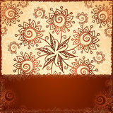 Ornate  doodle flowers background Royalty Free Stock Image