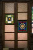 Ornate Door. Glass stained window for an ornate door in a quaint restaurant Royalty Free Stock Photos