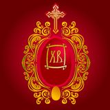 Ornate Easter Egg On Red. Easter Egg and Gold Ornate on Red Background. Vector Illustration. No Meshes Stock Photography