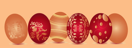 Ornate Easter Eggs. Illustration of oval shaped designs for fashion or decorative purpose Stock Image