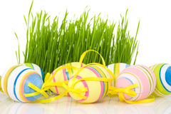 Ornate easter eggs with grass Royalty Free Stock Images