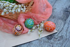 Ornate, easter eggs and willow  - easter gifts Royalty Free Stock Photography