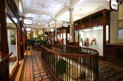 Interior of Old Shopping Bank Arcade, Wellington, New Zealand stock photos