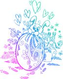 Ornate egg and Easter bunnies Royalty Free Stock Image