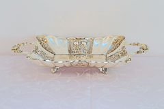 Ornate Elegant Silver Tray Stock Images
