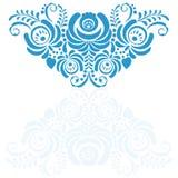 Ornate elegant vector floral frame in Gzhel style Stock Images