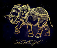 Ornate elephant illustration. Royalty Free Stock Photos