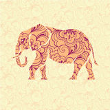 Ornate elephant. Ornate silhouette of elephant on background with floral pattern in vector Stock Photo