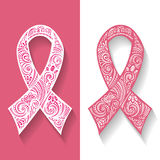 Ornate Emblem, Ribbon of Breast Cancer Royalty Free Stock Photo