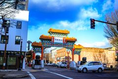 The ornate entrance to the Chinatown area of Portland. Portland, United States - Dec 21, 2017 : The ornate entrance to the Chinatown area of Portland, Oregon on Stock Photo