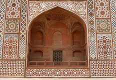 Ornate facade of Akbar's Tomb. Agra, India Royalty Free Stock Photo