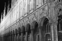 Ornate facade in black and white