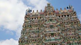 Ornate facade of Hindu temple stock video