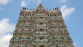 Ornate facade of Hindu temple. In low angle stock footage
