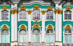 Ornate facade of Winter Palace - Hermitage in Saint Petersburg, Russia. Ornate facade of Winter Palace - Hermitage on Palace Square in Saint Petersburg, Russia royalty free stock images