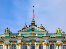 Ornate facade of Winter Palace - Hermitage in Saint Petersburg, Russia. Ornate facade of Winter Palace - Hermitage on Palace Square in Saint Petersburg, Russia royalty free stock photography