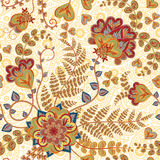 Ornate fantasy flowers seamless paisley pattern. Floral ornament on dark background for fabric, textile, cards, wrapping Stock Images