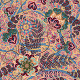 Ornate fantasy flowers seamless paisley pattern. Floral ornament on dark background for fabric, textile, cards, wrapping Stock Photo