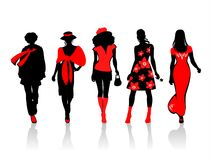 Ornate female silhouettes Stock Image
