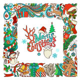 Ornate festive frame of Christmas objects. Stock Images