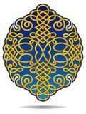 Ornate filigree crest in blue and gold Royalty Free Stock Image