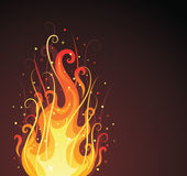 Ornate fire. Pattern in a shape of a fire on the dark background Royalty Free Stock Images